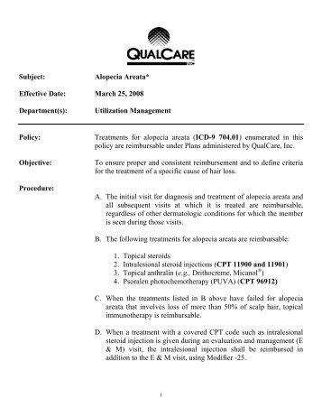 Alopecia Areata (rvwd 2012) - QualCare Inc.