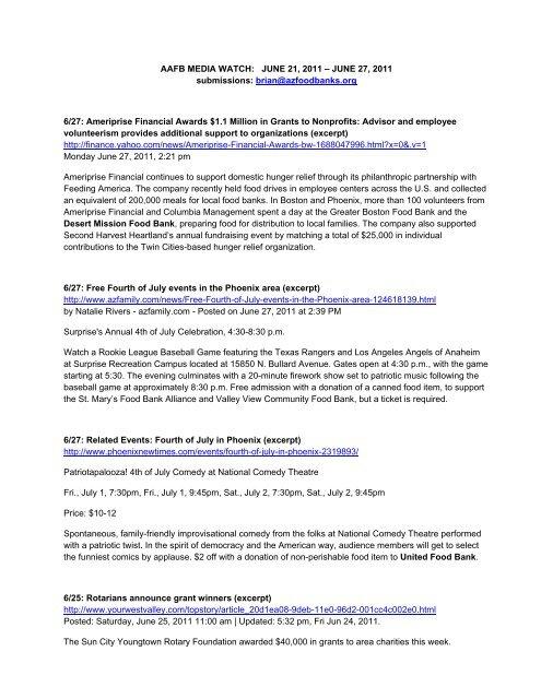 June 21 27 Association Of Arizona Food Banks