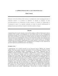 L'APPRENTISSAGE DE LA LECTURE MUSICALE Gilles Comeau ...