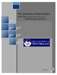 WebSTAR Information - University of New Orleans