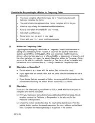 Checklist for Responding to a Motion for Temporary Order