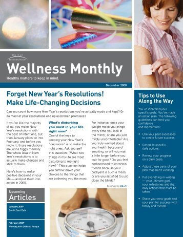 Forget New Year's Resolutions! - ConnectiCare