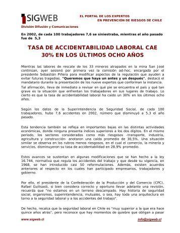 tasa de accidentabilidad laboral cae 30% en los últimos ... - Sigweb