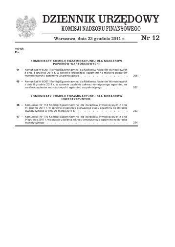 Dziennik Urzędowy Komisji Nadzoru Finansowego nr 12 - Komisja ...