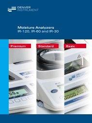 Moisture Analyzers IR-120, IR-60 and IR-30