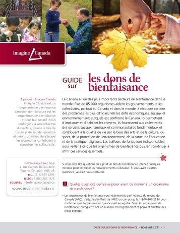 Guide sur les dons de bienfaisance » noVeMbre ... - Imagine Canada