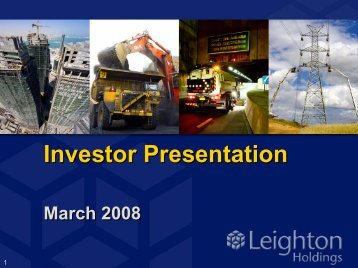 Investor Presentation (PDF - 1.1 MB) - Leighton Holdings