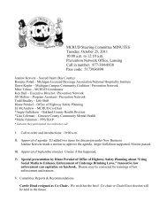 MCRUD Steering Committee MINUTES Tuesday, October 25, 2011 ...
