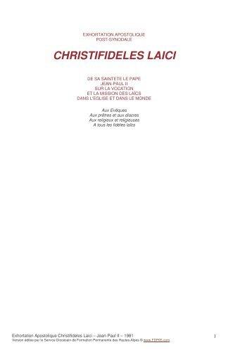 Exhortation Apostolique Christifideles Laici – Jean-Paul II