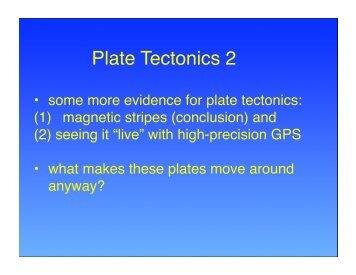 Plate Tectonics 2 - Earth and Ocean Sciences, Department of