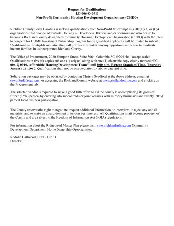 Request for Qualifications RC-006-Q-0910 Non ... - Richland County