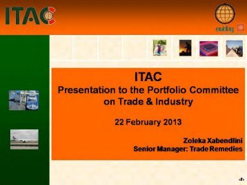 ITAC Presentation - Department of Trade and Industry