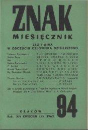 Nr 94, kwiecień 1962 - Znak