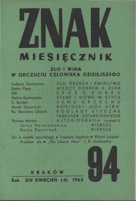 Nr 94 Kwiecieå 1962 Znak