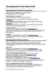 Beratungsstellen für den Bezirk Hinwil - Suchtprävention Zürcher ...