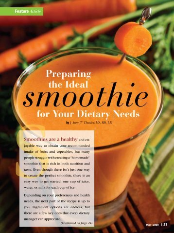 Article smoothie Preparing the Ideal for Your Dietary Needs