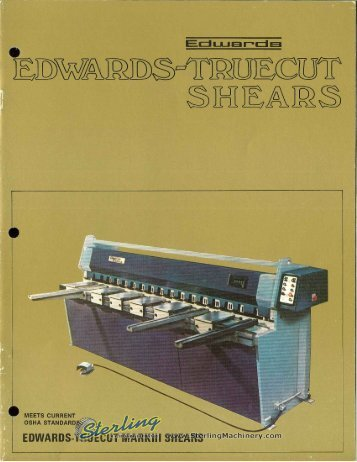Edwards Truecut Mark lll Shears Brochure - Sterling Machinery