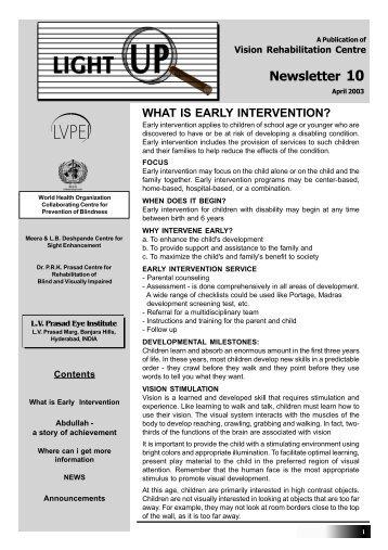 April 2003 - Patient Care Services - LV Prasad Eye Institute
