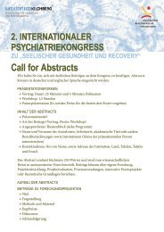Call for Abstracts (Deutsch) - Recovery Psychiatrie