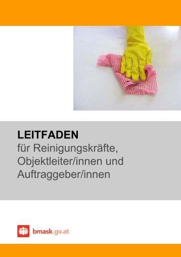 LEITFADEN für Reinigungskräfte, Objektleiter ... - Arbeitsinspektion