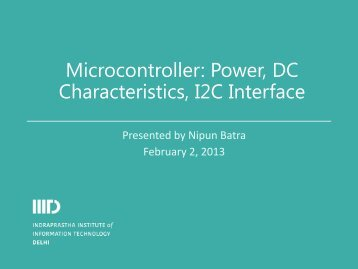 Microcontroller: Power, DC Characteristics, I2C Interface - IIIT