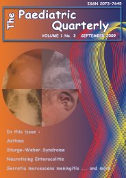 Volume 1 no. 3 September 2009 - The Paediatric Quarterly