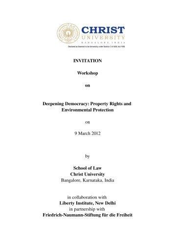 INVITATION Workshop on Deepening Democracy ... - Christ University