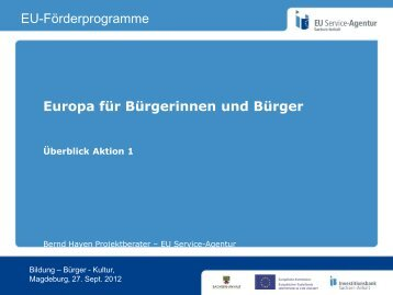 Europa für Bürgerinnen und Bürger EU-Förderprogramme