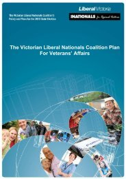 The Victorian Liberal Nationals Coalition Plan For Veterans' Affairs