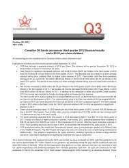 Third Quarter 2012 Report - Canadian Oil Sands