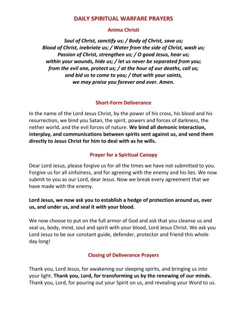 Deliverance Prayers Pdf
