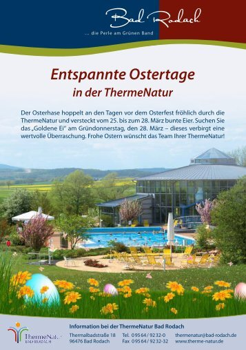 Entspannte Ostertage in der ThermeNatur - therme Natur Bad Rodach