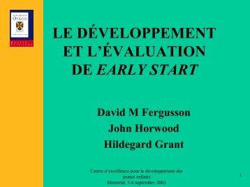 Le développement et l'évaluation du programme Early Start