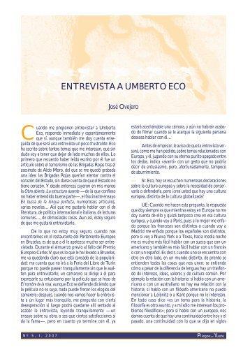 Entrevista a Umberto Eco. - Pliegos de Yuste