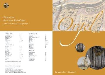 Disposition der neuen Klais-Orgel - Orgelbau Klais Bonn