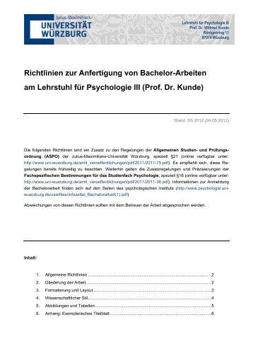 Richtlinien zu Bachelorarbeiten - Lehrstuhl für Psychologie III