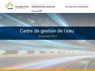 Cadre de gestion de l'eau - Canadian Fuels Association