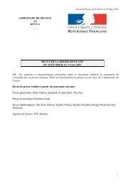 Revue de Presse du 26 au 5 mars 2013 - Ambassade de France au ...