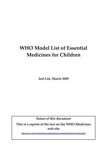 WHO Model List of Essential Medicines for Children - libdoc.who.int ...