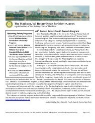 Rotary News May 17, 2013 - Rotary Club of Madison, WI
