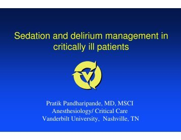 Sedation and delirium management in critically ill patients