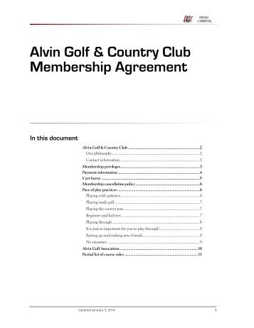 AGCC Membership Agreement - Alvin Golf & Country Club