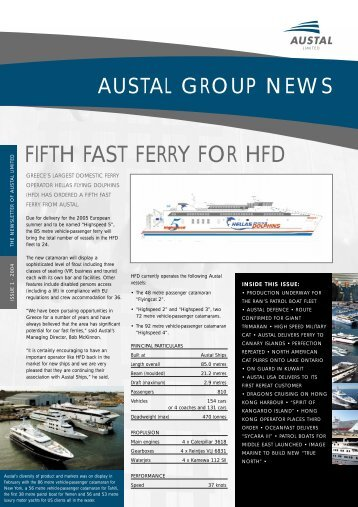 FIFTH FAST FERRY FOR HFD - Austal Ships