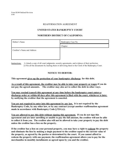 Reaffirmation Agreement Northern District Of California