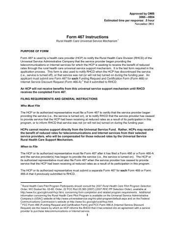 Form 467 - Universal Service Administrative Company