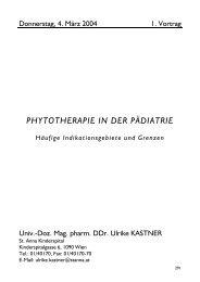 PHYTOTHERAPIE IN DER PÄDIATRIE Häufige Indikationsgebiete ...