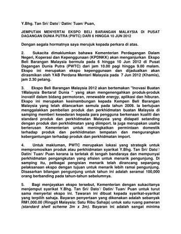 Y.Bhg. Tan Sri/ Dato'/ Datin/ Tuan/ Puan, Dengan ... - 1Pengguna