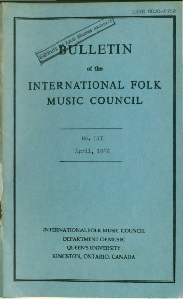 Apr 1978 - International Council for Traditional Music
