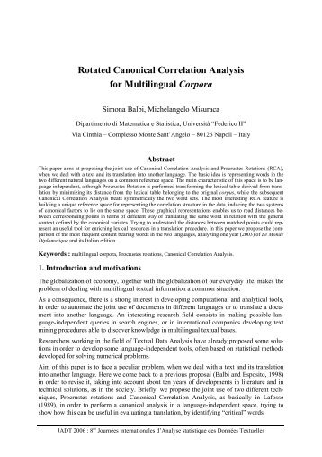 Rotated Canonical Correlation Analysis for ... - Lexicometrica
