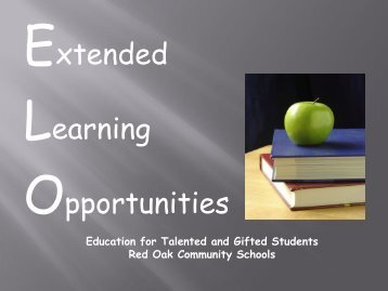 Extended Leaning Opportunities - Red Oak Community Schools